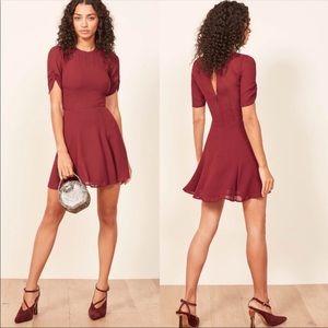 REFORMATION Gracie Puff Sleeve Dress Garnet Red